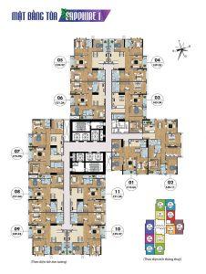 Mặt bằng tầng điển hình tòa Sapphire 1 Goldmark City