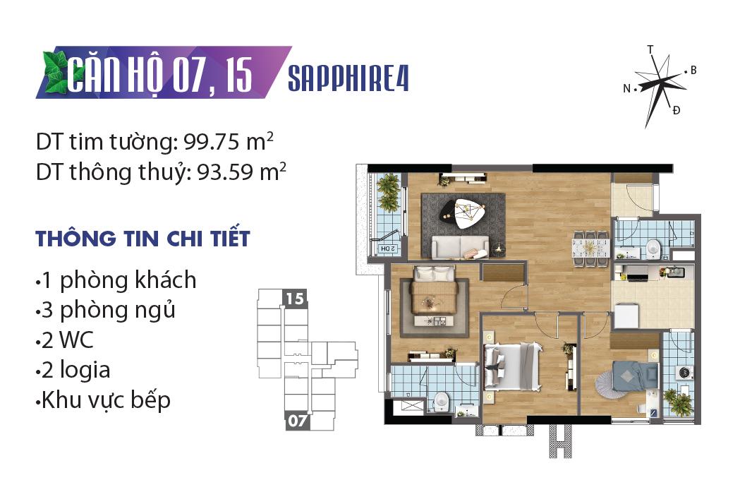 Mặt bằng căn 07 - 15 Sapphire 4 Goldmark City