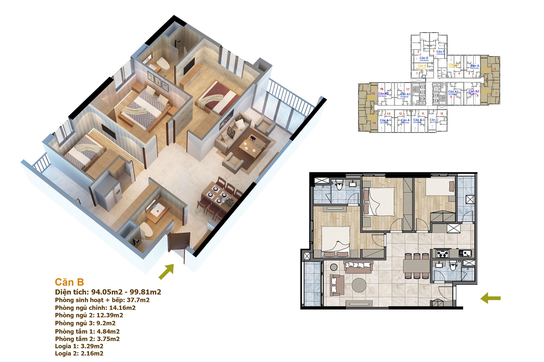 thiết kế căn hộ 99m2