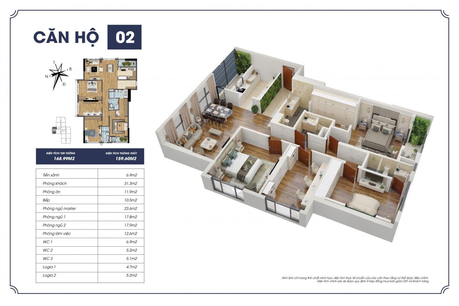 Phối cảnh 3D căn hộ 02 - Sapphire 2