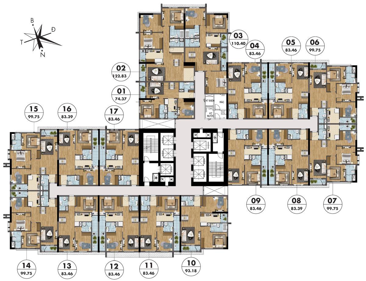 Mặt bằng tầng điển hình tòa Sapphire 4 - Goldmark City