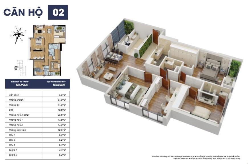 Thiết kế mặt bằng căn 02 tòa S2 Goldmark City