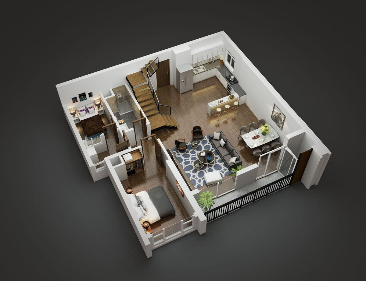 Thiết kế tầng dưới căn hộ Duplex tòa Diamond Goldmark City