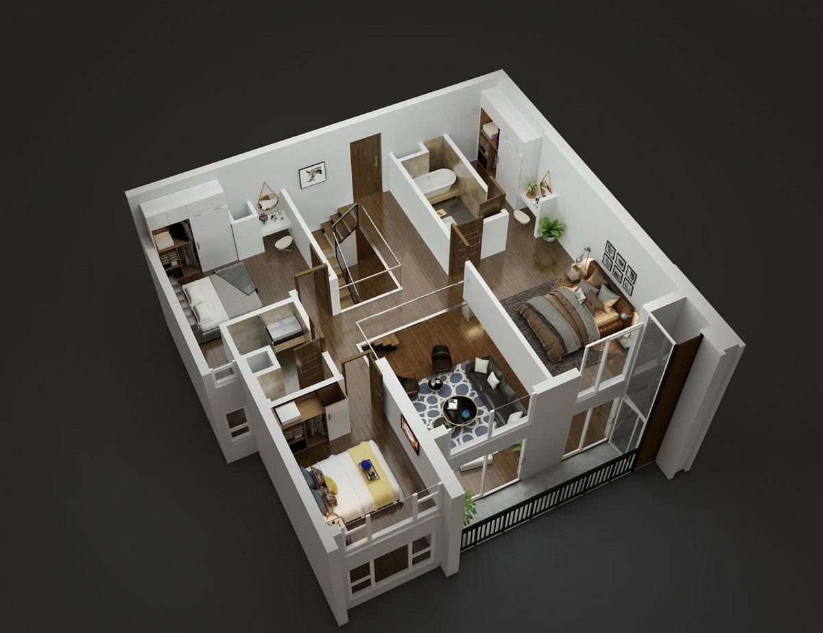 Thiết kế tầng trên căn hộ Duplex tòa Diamond Goldmark City