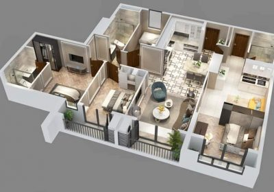 Phối cảnh 3D thiết kế căn hộ Dualkey