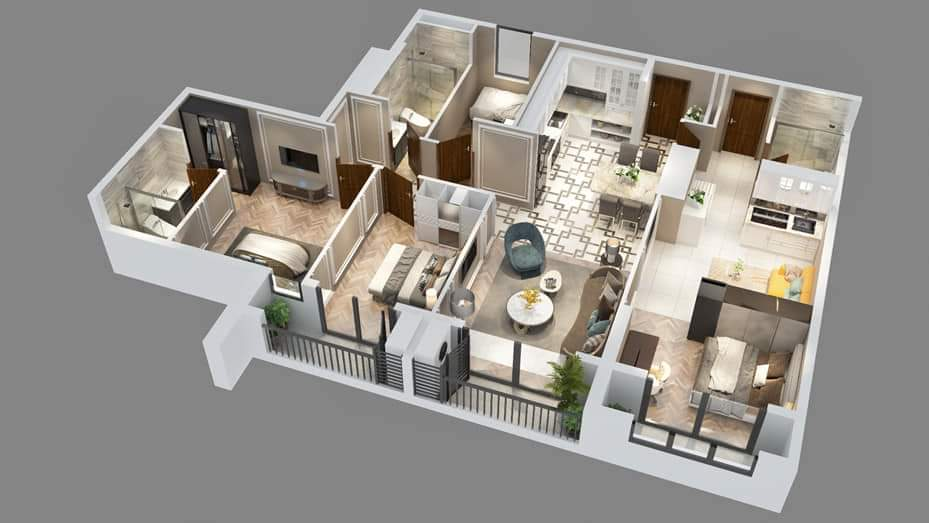 Phối cảnh 3D thiết kế căn hộ Dual Key