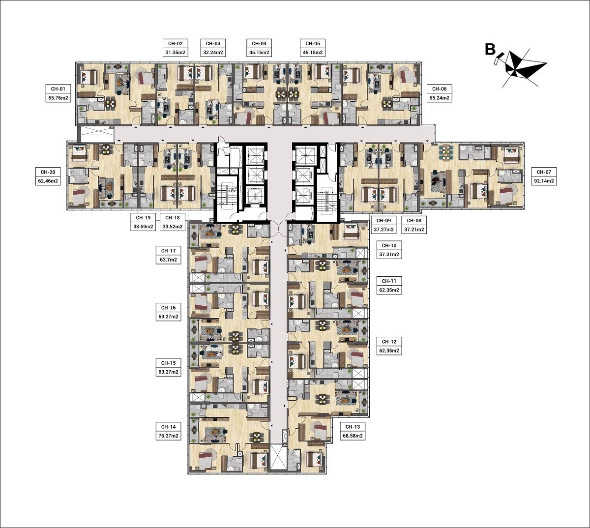 Mặt bằng tầng điển hình căn hộ The Nosta đường Láng