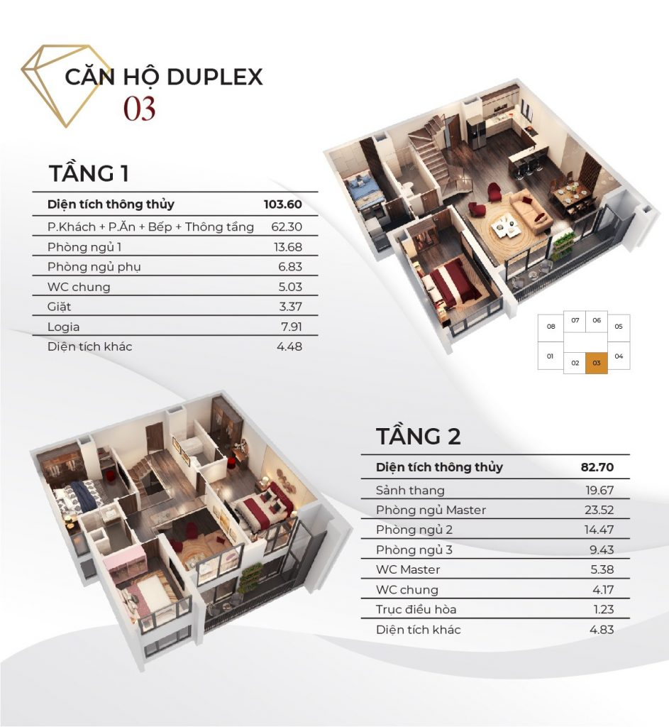 Mặt bằng & Thông số căn Duplex Diamond Goldmark City